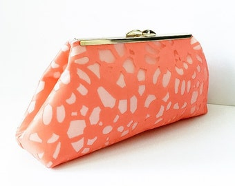 Coral Lace Clutch
