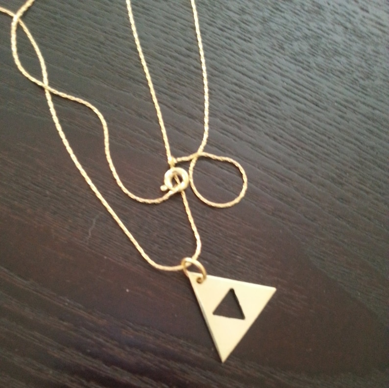 Gold Triforce Legend of Zelda symbol necklace image 0