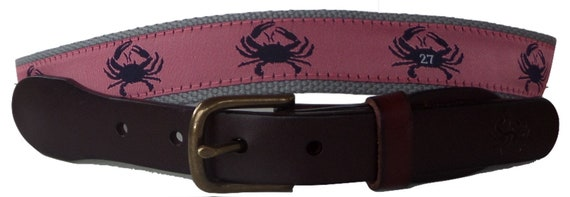 Whales and Starfish Ribbon on Navy No27 Mens Whales and Starfish Nautical Leather Belt