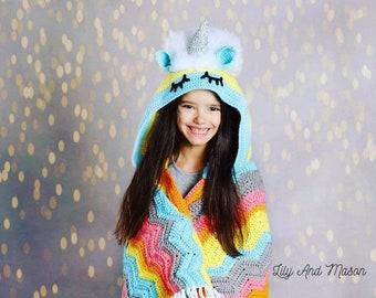 Unicorn Crochet Pattern, Rainbow Unicorn, Crochet Unicorn, Unicorn Blanket, Crochet Unicorn Blanket, Hooded Unicorn Blanket, Unicorns,