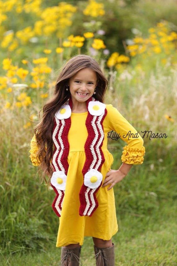 Bacon And Eggs, Crochet Pattern, Crochet Scarf, Bacon Scarf, Egg Scarf, Crochet Bacon, Crochet eggs, Fuller House, White Elephant, PDF File