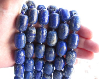 5 Piece Natural Lapis Lazuli By Handmade Carved Rondelle Large Hole Beads-European Bracelet Fit Charms Beads 8x15mm 5mm Hole