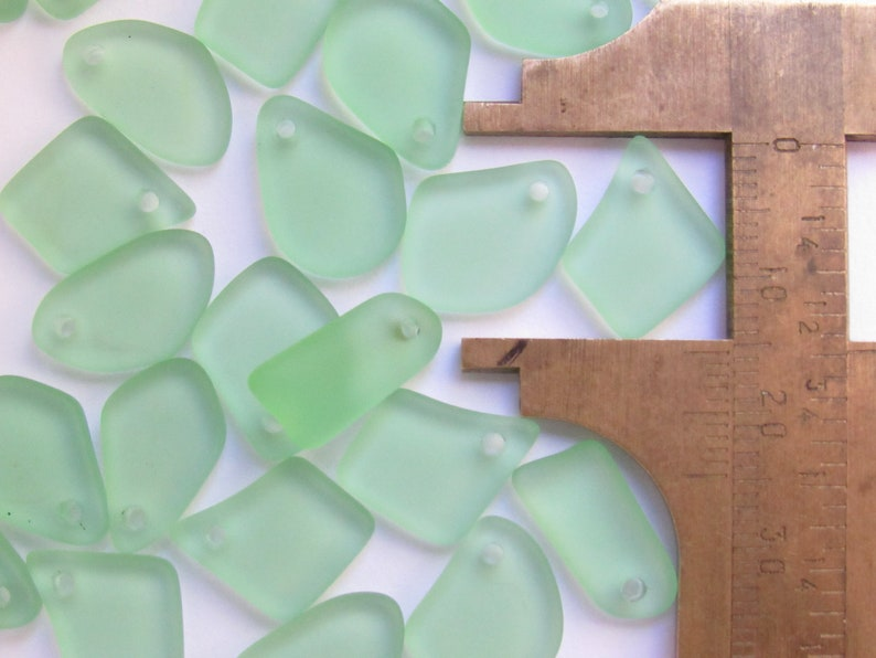 Cultured Sea glass PENDANTS freeform flat 15mm assorted green purple blue bead supplies for making jewelry