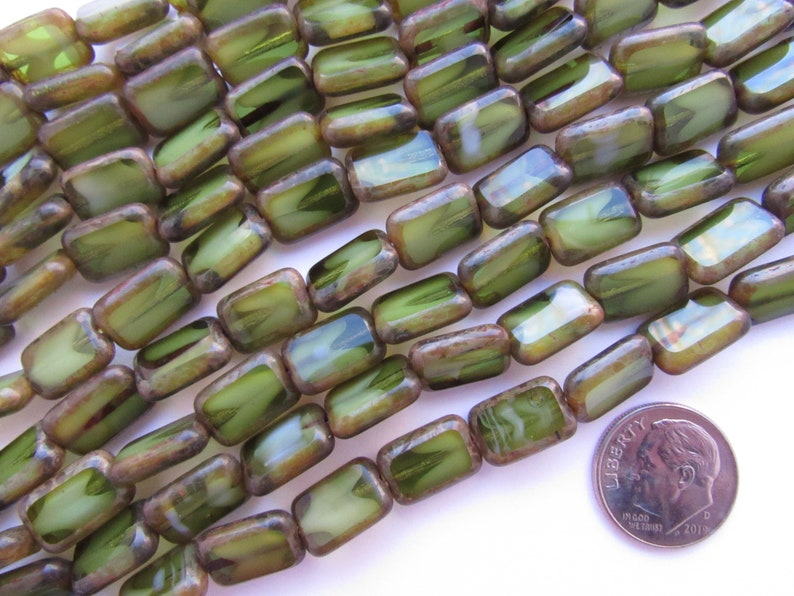 CZECH Glass BEADS Table Cut 12x8mm Rectangle GreenWhite Picasso supply for making jewelry