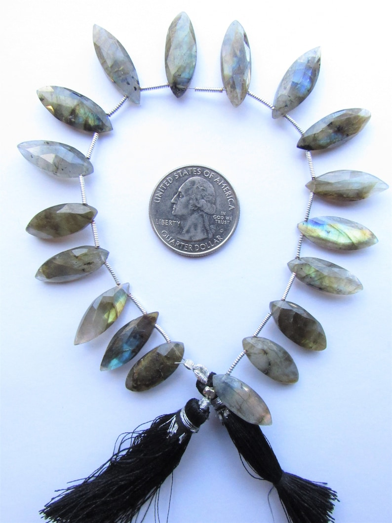 Labradorite BEADS Horse Eye Marquise top drilled 20x8mm Faceted 18pc Strand Natural Flash Gemstone