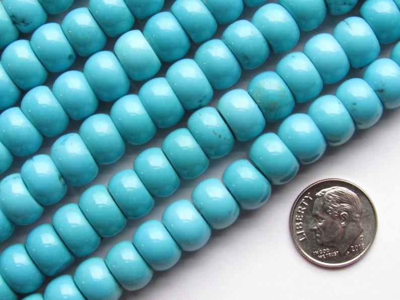 Genuine TURQUOISE BEADS 10mm Barrel little Matrix Natural Blue Gemstone making jewelry