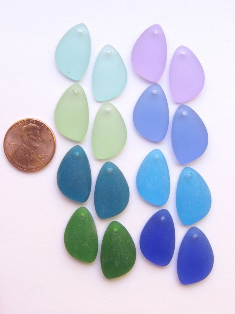 Sea Glass PENDANTS 21x13mm Pairs Aqua Blue Green Pink Purple 8 pair Top Drilled Great for making earrings