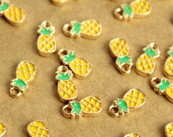 Tiny Pineapple Charms Green Yellow Brown 10mm x 5mm and Gold Enameled 12 pc MIS-137*