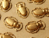 2 pc. Large Raw Brass Scarab Beetles 32mm by 20mm - made in USA RB-879