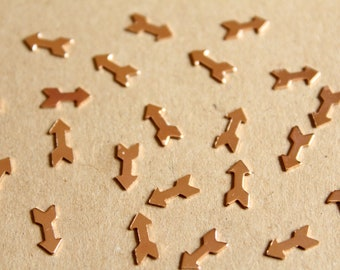 20 pc. Tiny Rose Gold Brass Arrows: 8mm by 3.9mm - made in USA | ROS-116