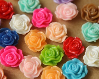 CLOSEOUT - 30 pc. Multi Color Ruffle Rose Cabochons 13mm x 11mm | RES-434