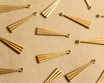 8 pc. Raw Brass Lined Geometric Drops: 23mm by 5.5mm - made in USA | RB-1134