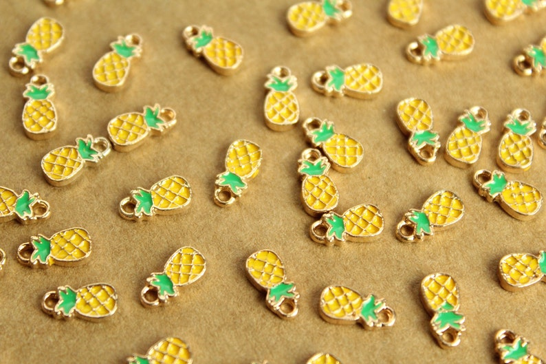 Tiny Pineapple Charms and Gold Enameled MIS-137* Brown 10mm x 5mm Yellow 12 pc Green