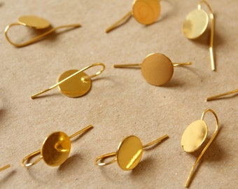 12 pc. Earring Hooks with 10mm pads, Gold | FI-472