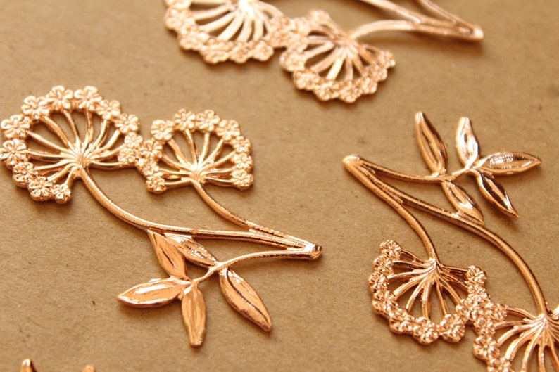 Large Rose Gold Plated Brass Dandelion Stamping: 50mm by 35mm ROS-078 made in USA 1 pc