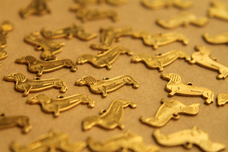 6 pc RB-409 made in USA Raw Brass Dachshund Charms: 17mm by 12mm