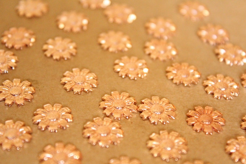 Small Rose Gold Plated Brass Sunflowers: 11mm flower daisy daisies floral sunflowers garden plant bouquet made in USA ROS-052 8 pc