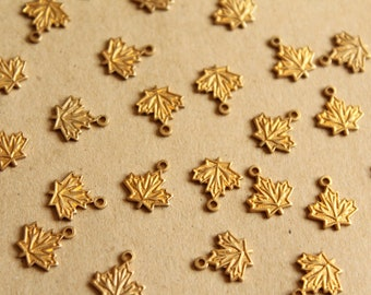 10 pc. Small Raw Brass Maple Leaf Charms: 11mm by 10mm - made in USA | RB-1135