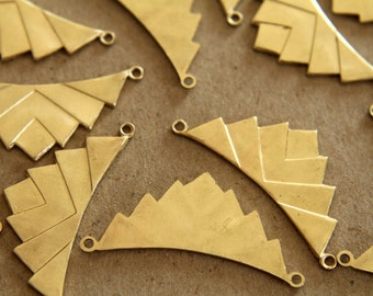 2 pc. Raw Brass Layered Geometric Charms: 37mm by 16mm - made in USA | RB-118