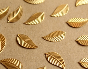 14 pc. Medium Raw Brass Veined Leaves: 20mm by 10mm - made in USA | RB-1133