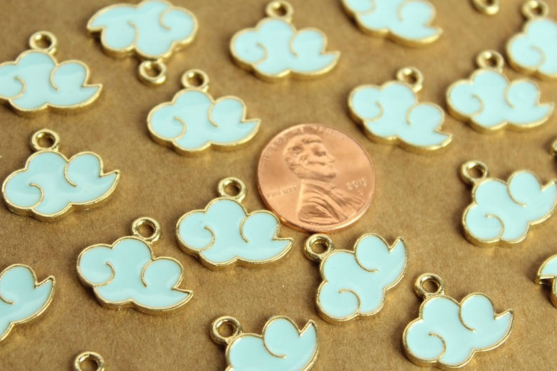 MIS-173* 10 pc Blue and Gold Enameled Cloud Charms 15mm x 19mm