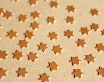 20 pc. Tiny Rose Gold Plated Brass Six Point Stars: 6mm by 6mm - made in USA | ROS-110