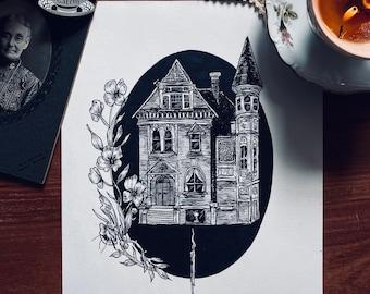 Haunted cellar - fine art print, gothic art, haunted house, Halloween art, victorian, victorian house