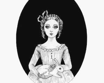 Easter Lore- fine art print, Easter art, gothic art, ink art, witch art