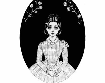 I'm still here for you- fine art print- gothic art, witch art, pen and ink, victorian, ghost, Halloween