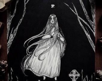Banshee- art print, Irish, St. Patrick's Day, folklore, dark art, victorian , pen and ink