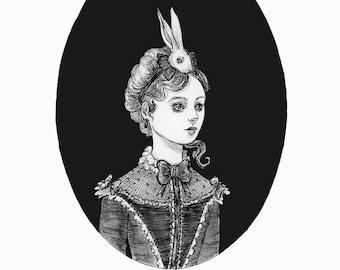 Alice Caught the Rabbit- fine art print, Easter art, Alice in wonderland,ink art, gothic art, victorian, witch art