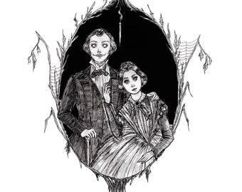 Jane Eyre - fine art print, gothic art, bronte sisters, victorian art, dark art, ink art
