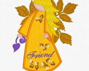 Angel - Friend -  Embroidery Design, Machine Embroidery, Digitized File