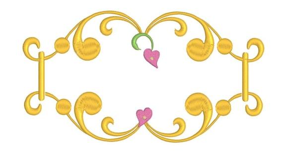 Fancy Elegant Heart Frame Design Embroidery Design | Etsy