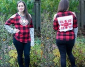 UPCYCLED Embroidered TOP, Cold Shoulder Sweater, Buffalo Plaid Thermal Warm Winter Top, Woman 39 s L XL
