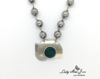 Repurposed Silver And Teal Beaded Necklace