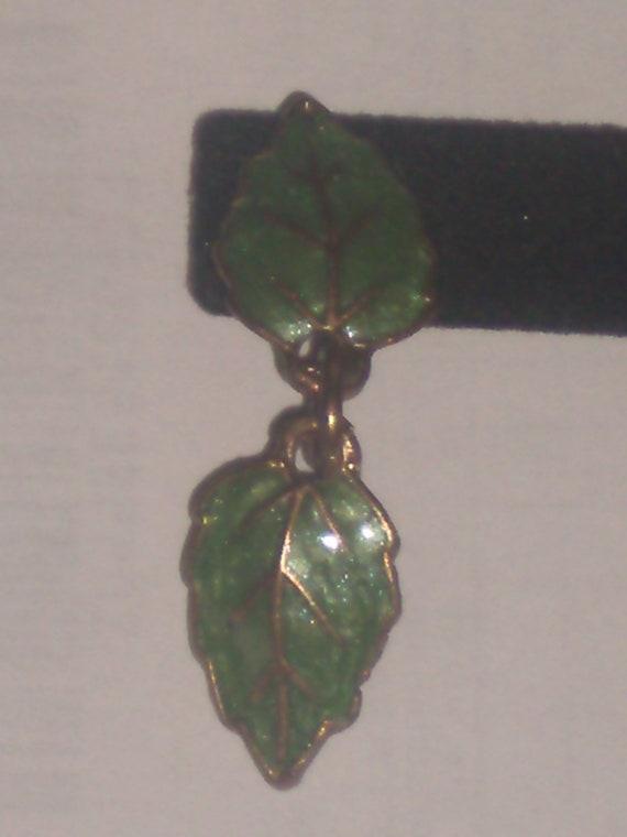 Vintage Enamel Alder leaf Earrings