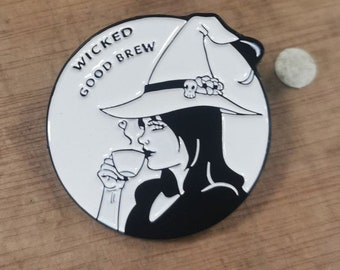 Wicked Good Brew Witch Enamel Pin 38.1 mm | Wicked Good brew, witch enamel pin, soft enamel lapel pin, wine or coffee, pin badge