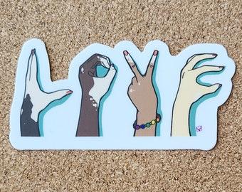 LOVE BLM PRIDE Vitiligo Sticker | diversity, unity, inclusion, rainbow hands, Body Positive, Love is love, Hands Spelling Love vinyl sticker