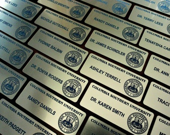 SCHOOL  or  BUSINESS Name Tags with magnet and Logo