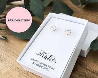Personalized Thank You For Being My Bridesmaid Jewelry Boxes - WHITE (Earrings not included) | Gift Boxes | Bridesmaid Gifts | SJBS3-PW