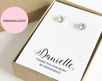 Personalized Thank You For Being My Bridesmaid Jewelry Boxes | Bridesmaid Gift Boxes | Bridesmaid Gifts | (Earrings not included) | SJBS3-PK