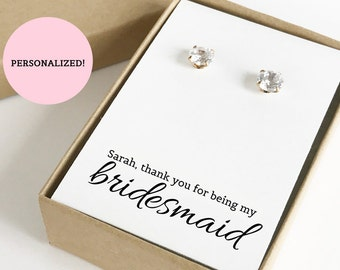 Personalized Thank You For Being My Bridesmaid Jewelry Boxes (Earrings not included) | Gift Boxes | Jewelry Box | Bridesmaid Gifts | SJBS1-P
