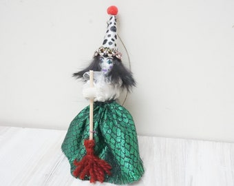 Halloween or Good luck kitchen witch doll handmade hanging ornament pointed polka dot hat home decor art figurine hand sculptured small