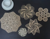 Set of 5 oatmeal cream White crochet round doily runner Coaster pad table placemat folk style flower openwork small cotton milk snowflake