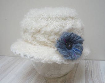 Mohair milk white Fedora Cloche Skullcap hat beanie beret cap crochet knit  handmade Wool brim hand wool with gray flower pin brooch fluffy 74cf4d415d57
