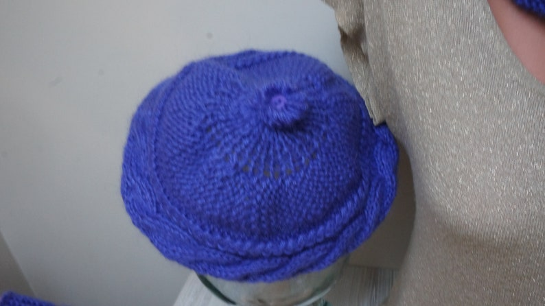 Purple mohair beret hat leg warmers and infinity scarf set  a00ffc76ea18