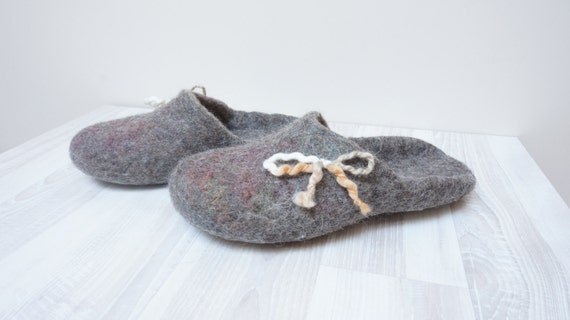 For gift open heel father Christmas men her mother Felted day slippers wool women him low Natural Custom personalized initials countered wFZOqxFgX