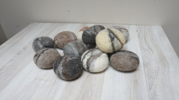 Natural gift set wool decor pebbles natural home decor eco friendly gift felted decor river rock ornament felted pebbles.