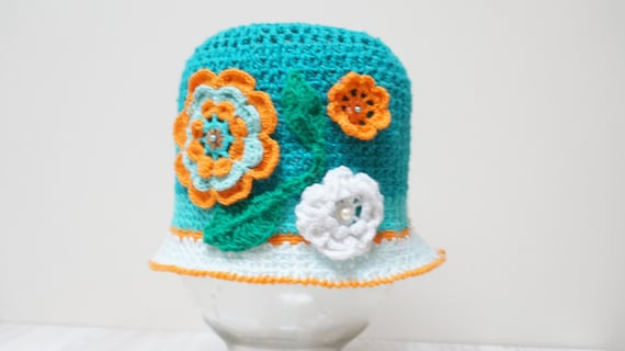 Girl hat summer beanie beret cap crochet knitting knit hats  a227f7d16222